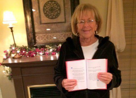 Mary Ann's sister, Peggy, with her Heartfelt Book